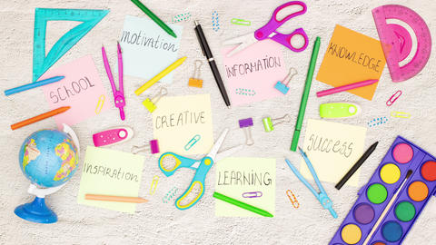 School supplies moving around the motivation notes on… Stock Video Footage