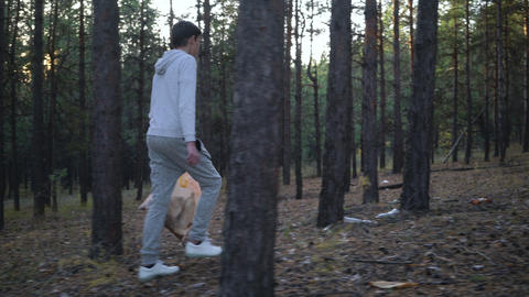 volunteer with garbage bags cleaning forest Live Action