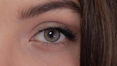 Green brown eye close-up Footage