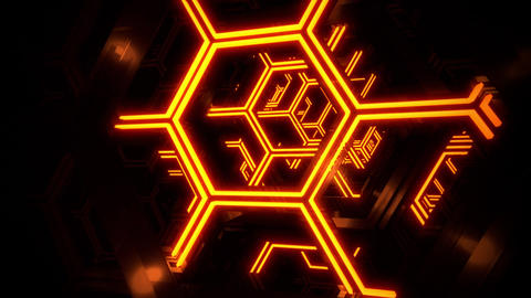3D Orange Sci-Fi Neon Hexagons VJ Loop Motion Background Videos animados