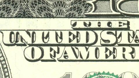 100 USD dollar cash - stop motion animation. USA money. macro view. Hundred Animation