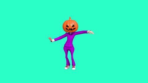 Contemporary animation cartoon art. Dancing Pumkin Head Helloween girl. Fashion Animation