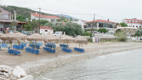 Empty deckchairs on the beach at the end of the summer vaction Live Action
