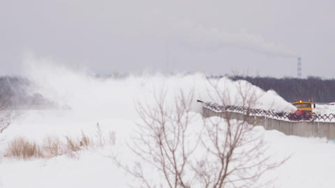 Snowplow clears the runway Stock Video Footage