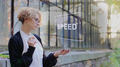 Blonde uses hologram Speed Footage