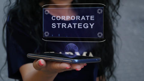 Woman showing HUD hologram Corporate strategy Footage