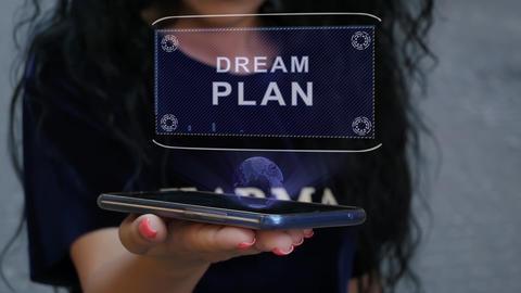 Woman showing HUD hologram Dream plan Live Action