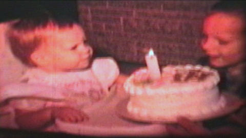 Little Girl Has First Birthday 1966 Vintage 8mm film Stock Video Footage