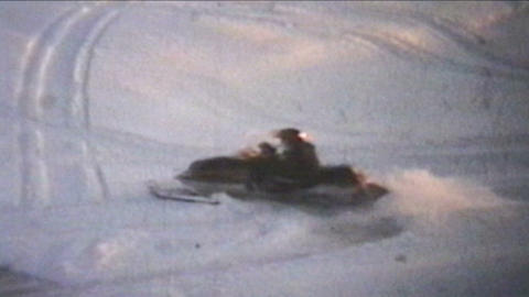 Snowmobiling Jumps 1975 Vintage 8mm Film stock footage