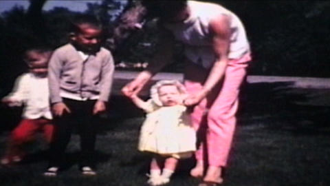 Family In Front Yard 1968 Vintage 8mm Film stock footage