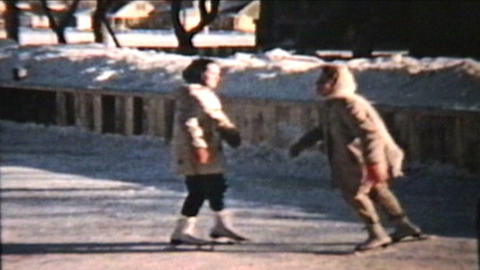 Ice Skating At The Local Rink 1960 Vintage 8mm film Stock Video Footage