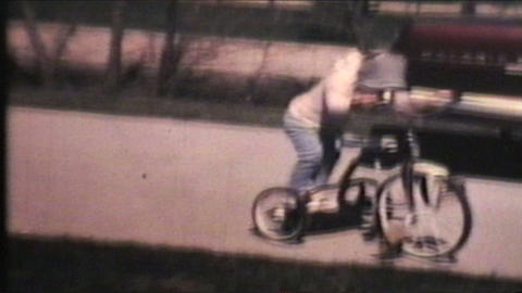 Kids Riding Bikes 1970 Vintage 8mm Film stock footage