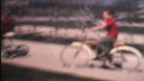 Kids Riding Bikes 1970 Vintage 8mm film Stock Video Footage