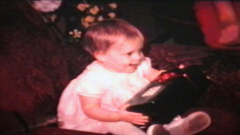 Little Girl With Christmas Gift 1966 Vintage 8mm film Footage