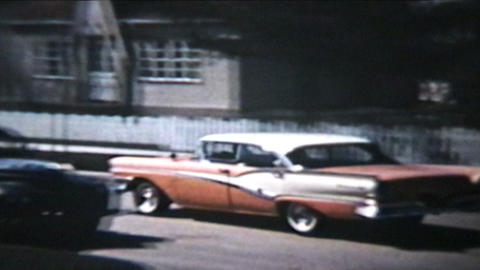 Old Cars Backing Out 1964 Vintage 8mm film Stock Video Footage