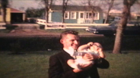 Proud Parents Holding Baby Outdoors 1963 Vintage 8mm film Footage