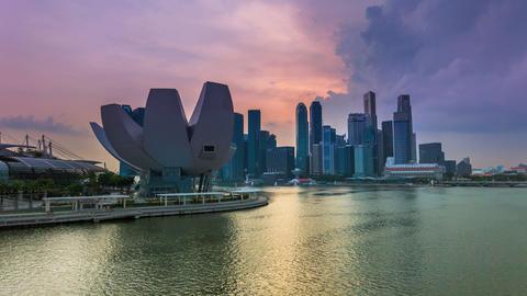 Timelapse - Singapore Marina Bay City Skyline Stock Video Footage