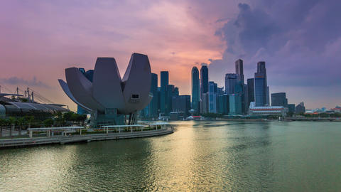 Timelapse - Singapore Marina Bay City Skyline stock footage