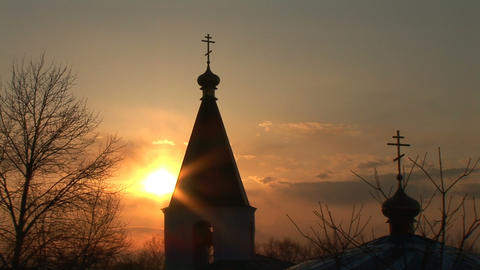 Church at sunset Footage