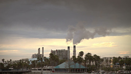 Industrial smoke from plant tube at sunset Stock Video Footage