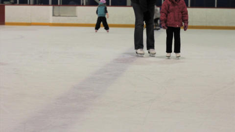Little Girl Skating On Ice Stock Video Footage
