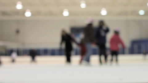 People Skating Off The Ice Rink Stock Video Footage