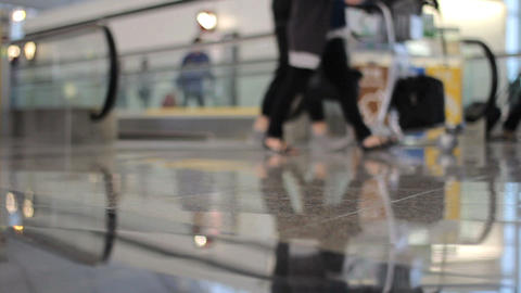 People Walking Through Busy Airport Stock Video Footage