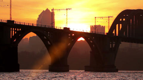 Sunset Of An Industrial City Stock Video Footage