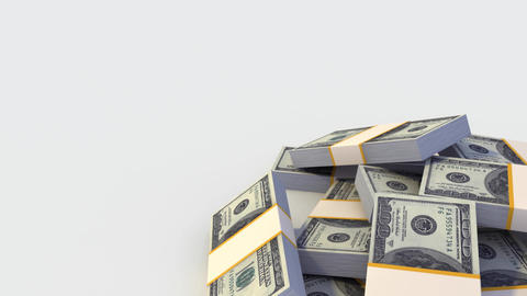 Stack of Dollar bills. Looping Stock Video Footage