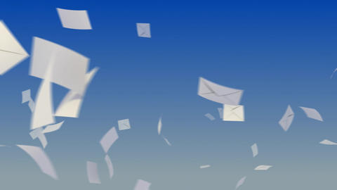 Flying envelopes on sky Stock Video Footage