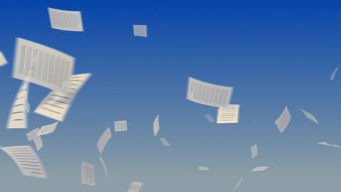 Flying Documents on Sky Stock Video Footage