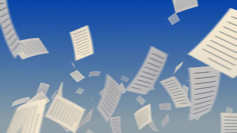 Flying Documents On Sky. stock footage