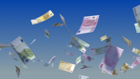 Flying Euro Notes on Sky Stock Video Footage