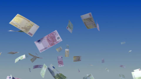 Flying Euro Notes On Sky. stock footage