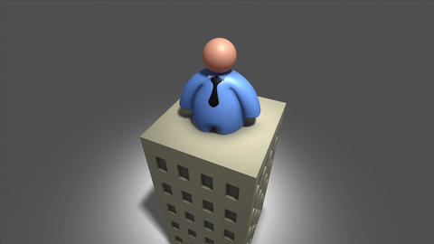 Business Man on the company building Animation