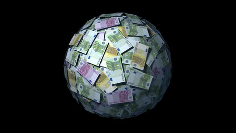 Looping Money Ball with Euro notes Animation