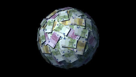 Looping Money Ball with Euro notes Stock Video Footage