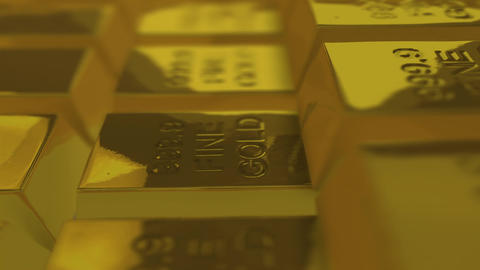 Looping Gold Bullions. stock footage