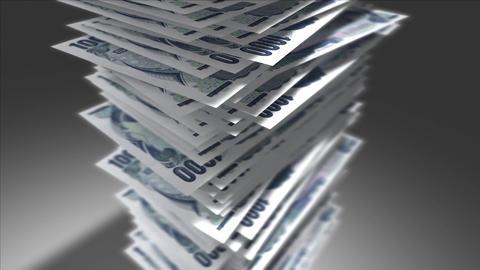 Huge stack of Japanese Yen bills Stock Video Footage
