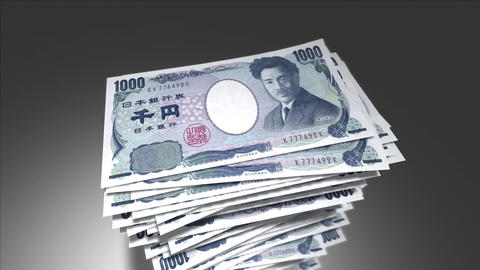 Huge stack of Japanese Yen bills Stock Video Footage
