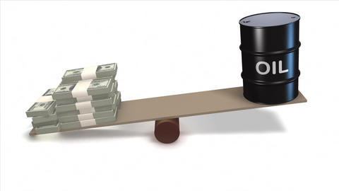Oil barrel and Dollar bills on seesaw Stock Video Footage