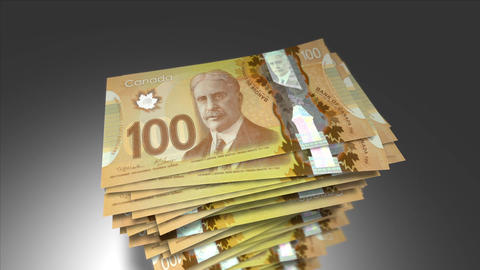 Huge stack of 100 Canadian Dollar bills Animation