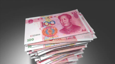 Huge stack of 100 Chinese Yuan bills Animation