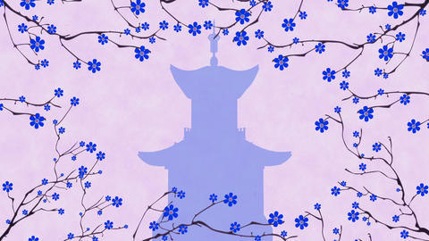 Cherry Blossoming Pagoda 5 Stock Video Footage