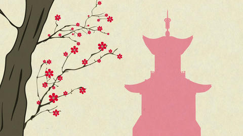 Cherry Blossoming Pagoda 7 Stock Video Footage