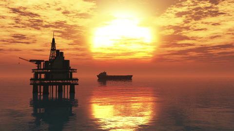 Oil Platform Tanker 1 Stock Video Footage