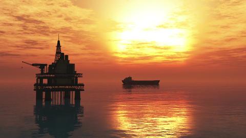 Oil Platform Tanker 1 Animation