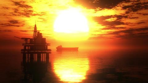 Oil Platform Tanker 3 Stock Video Footage