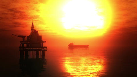 Oil Platform Tanker 3 Stock Video Footage