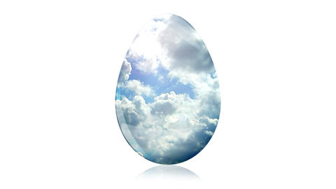 Glass Easter Egg with Clouds Stock Video Footage